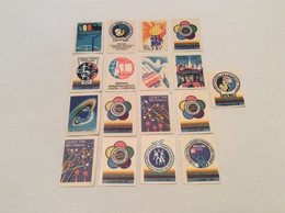 Vintage Set 16 Soviet 1960s USSR Stickers Matchbox Match Labels International Union Students Space Friendship Pigeon - Matchbox Labels