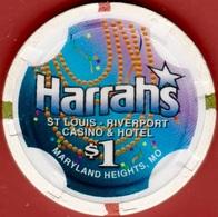 $1 Casino Chip. Harrahs, Maryland Heights, MO. K46. - Casino