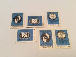 Vintage Double Set 6 Soviet 1984 USSR Stickers Matchbox Match Labels Moscow International Exhibition GEOEXPO Geologorum - Luciferdozen - Etiketten