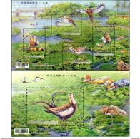 Taiwan 2017 Conservation Birds S/s- Pheasant-Tailed Jacana Bird Water Chestnut Boat Train Pond Dragonfly Insect - 1945-... Republic Of China