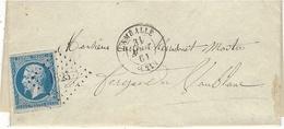1861- Lettre De LAMBALLE ( Cotes D'Armor ) Cad T15 Affr. N°14 Oblit. Pc 1625 - 1849-1876: Classic Period