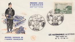 Enveloppe  FDC  1er  Jour  ALGERIE   Oeuvres  Sociales  De  L' Armée   1957 - Algérie (1924-1962)