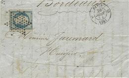 1854- Lettre De Paris Cad De Route 3è  10  Affr. N°15  25 C Empire ( 3 Marges ) Pour Bordeaux - 1849-1876: Classic Period