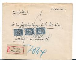 Pol005 / - POLEN -/ Varsocic (Warschau) Einschreiben Mit 3-er Streifen Nach Leipzig - ....-1919 Provisional Government