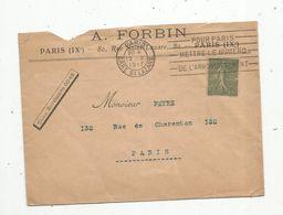 Lettre,1917 , PARIS ,  GARE ST LAZARE ,  A. FORBIN ,  80 Rue Saint Lazare - Storia Postale