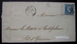 1860 Condom (Gers) Grand Bord De Feuille Sur 14a Pc 935 Boite Rurale H Pour Le Maire De Casteljaloux (Lot Et Garonne) - Postmark Collection (Covers)