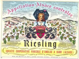 1 Etiquette Ancienne De VIN - RIESLING  VIN D'ALSACE - COOPERATIVE VINICOLE D'ANDLAU A BARR - Riesling