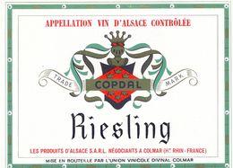 1 Etiquette Ancienne De VIN - RIESLING - LES PRODUITS D'ALSACE A COLMAR COPDAL - Riesling