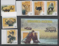 NATIONAL ZOO, 2009, MNH,FAUNA, BIRDS, HIPPOS, RHINOCEROS, BUFFALO, CHEETAH, BABOON, 6v+SS - Rhinoceros
