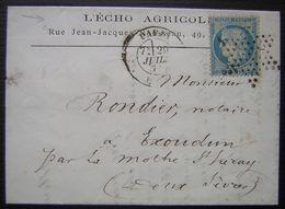 1871 Oblitération étoile Sur Lettre à En Tête De L'Echo Agricole (Paris) Pour Escoudun - 1849-1876: Période Classique