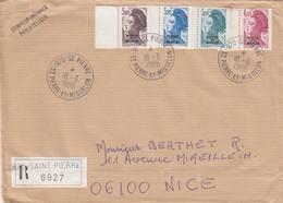 ST PIERRE ET MIQUELON RECOMMANDE ST PIERRE POUR NICE 15,20F - Lettres & Documents