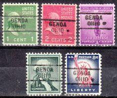 USA Precancel Vorausentwertung Preo, Locals Ohio, Genoa 729, 5 Diff. - Vereinigte Staaten