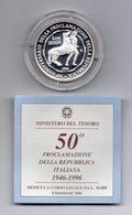 """Italia - 1996 - 10000 Lire PROOF """" 50° Proclamazione Della Repubblica """" - Argento 835 - Con Custodia - (MW1137) - 1946-… : Republic"""