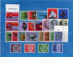(Riz) Svizzera ** -1974 -  Annata Completa, Année Complète.- 25 Valeur .  MNH.  NEUF. Vedi Descrizione - Unused Stamps