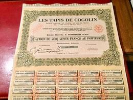 LES  TAPIS  De  COGOLIN  ----   Action  De  500 Frs - Industrie