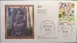 FRANCE 3629 Et 3630 FDC X 2 Premier Jour Emission Commuine Conjointe INDE Enluminure Joaillerie Bijou Coq Paon - 2000-2009