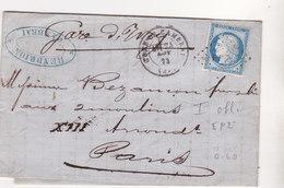 377 - LAC - CERES 60 - 24.11.73 -   CAMBRAI  à  PARIS - Postmark Collection (Covers)