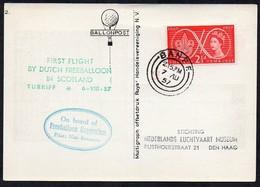 Großbritannien  1957  Ballonpost ; Ballon Oxygenium , First Flight By Dutch Freeballoon In Scotland - Airships