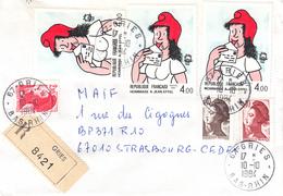 Env Reco Affr Y&T 2179 + 2183 + 2291 X 3 + 2319 Obl GRIES Du 10.10.1984 Adressée à Strasbourg - Marcophilie (Lettres)