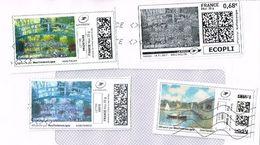 """France MonTimbrEnLigne - Tarif Eco Pli Prioritaire Lettre Verte """" Claude Monet """" - Art Paint Painting Oblitéré 4v - Personalisiert"""