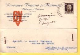 REGNO - ITALIA  -  BUSTA   - DITTA  GIUSEPPE VIGANO'  FU ANTONIO   VIAGGIATA  VEDUGGIO PER INVILLINO - VILLA SANTINA - 1900-44 Victor Emmanuel III