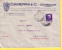 REGNO - ITALIA  -  BIRRA - DITTA CAMERINI E C. - CAVATIGOZZI  CREMONA- BUSTA VIAGGIATA  1929 PER AMPEZZO - 1900-44 Victor Emmanuel III