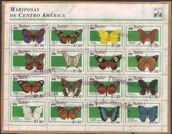 Nicaragua Feuillet De 16 Papillons Sur Fragment (1994) Oblitéré - Schmetterlinge