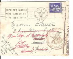 WW2-01 -Lettre De Nice Avec Bande Et Cachet De Censure Commission FA Pour Metz évacuée. - Guerre De 1939-45