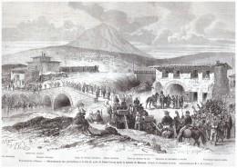 Gravure  1867  Italie   Desarmement   Des Garibaldiens   PONT  PASSO  CORESE   BATAILLE  DE MENTANA - Old Paper