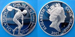 COOK ISLANDS 10 $ 2001 ARGENTO PROOF OLYMPIC GAMES 2004 DISCOBOLO PESO 20g TITOLO 0,925 CONSERVAZIONE FONDO SPECCHIO UNC - Cook Islands