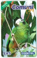 PHONECARDS-    -DOMINICANA-EDITION 1997  COMUNDI CARD  --$ 45---BIRDS --- BLISTER --  A HOLE - Dominicana