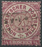 NDP 1/4 Gr Freimarke Michel 13 Gestempelt, Scherentrennung (1-481) - Norddeutscher Postbezirk