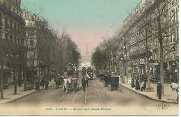 75 PARIS BOULEVARD SAINT MICHEL ATTELAGES DILIGENCES TRAMWAYS TRES ANIMEE Colorisée Réf. 238 63 - Sonstige