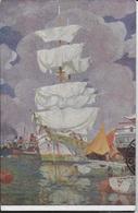 VETTORE ZANETTI  ZILLA - VELE AD ASCIUGARE - XI ESPOSIZIONE D'ARTE VENEZIA 1914 - VIAGGIATA 1929 - Pittura & Quadri