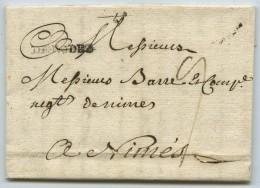 Marque Linéaire DE RODEZ Taxe 9 Décimes / LàC 1769 Pour Barre & Cie, Marchand De Soie à Nîmes . Enjatran . - Marcophilie (Lettres)