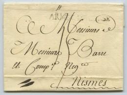 Rare Marque Linéaire ARMEE DE CORSE Taxe 15 Décimes / LàC 1771 De Bastia Pour Nîmes . Marchand De Soie . - Marcophilie (Lettres)