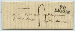 MP 70 DIGOIN Taxe 4 Décimes / LàC 1827 Substitut Procureur Gal à Bourges . Considérations Politiques Après Législatives - 1801-1848: Precursors XIX