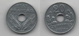 + FRANCE + 20 CENTIMES  1944 + ZINC - France