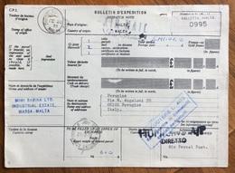 MALTA  VALLETTA  DESPATCH NOTE  BULLETIN D'EXPEDITION  PAR AVION  PER PERUGIA  ITALY - Timbres