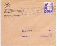 Enveloppe Kuvert - Pub Reklam Svenska Lotteri Stockholm - Till Hagfors Sverige Suède Zweden 1948 - Postal Stationery