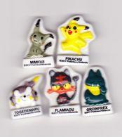 5 Fèves Plates Pokemon Groinfrex Pikachu Flamiaou Togedemaru Mimiqui 2017 - Strips