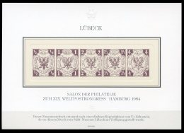 Germany, Lubeck, 1984, UPU Postal Congress Hamburg, Reproduction, MNH Sheet - Luebeck