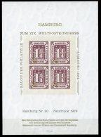 Germany, Hamburg, 1984, UPU Postal Congress Hamburg, Reproduction, MNH Sheet - Hamburg