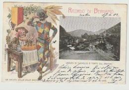Litho Ricordo Di Bergamo Veduta Di Clenezzo E Ponte Sul Brembo Arlecchino - Bergamo