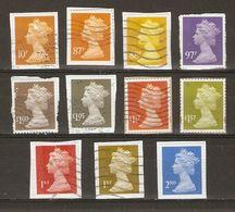 Grande-Bretagne - 2009/17 - Elizabeth II Machin - 4ème Série - 2 Sécurités Ovales - Petit Lot De 11° Sur Fragments - Stamps