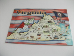 CARTA GEOGRAFICA VIRGINIA  BANDIERA  RICHMOND  U.S.A. - Carte Geografiche