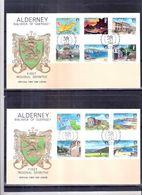 2 FDC Alderney - Yv.1/12 -Série Complète - Alderney