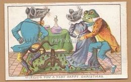Greeting Card  Frog & Mice Dancing Egc145 - Old Paper