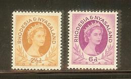 RHODESIA & NYASALAND SG 3a & 7 MNH 1954-56 LOOK !! - Rhodesia & Nyasaland (1954-1963)