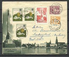 LETTLAND Latvia 1938 Illustrated Cover Riga Nach Ludwigslust Interessanter Frankatur - Latvia